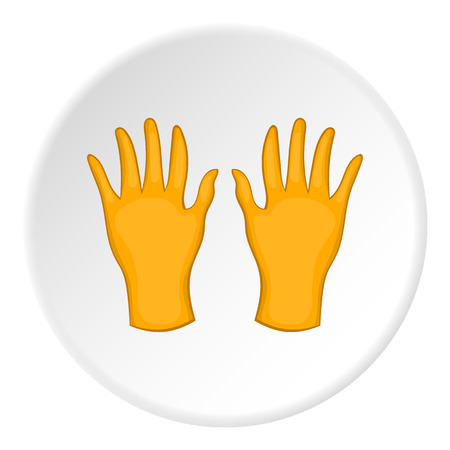 pollinate: Yellow gloves icon. artoon illustration of yellow gloves vector icon for web