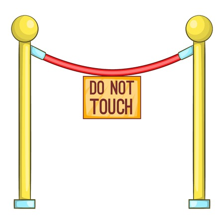 Red rope barrier with sign do not touch icon. Cartoon illustration of rope barrier vector icon for web