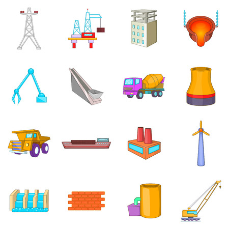powerhouse: Idustry icons set. Cartoon illustration of 16 industry vector icons for web Illustration