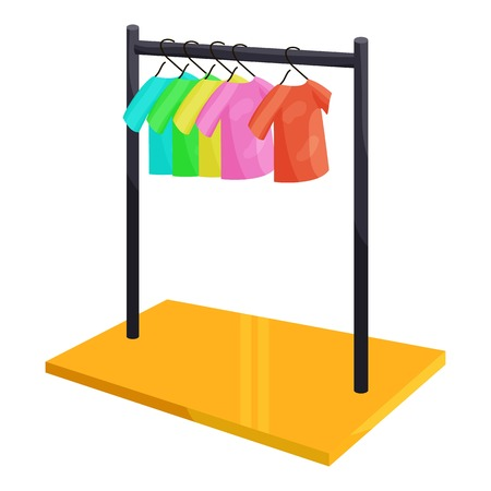 clothes hanging: Clothes hanging on the rack icon. Cartoon illustration of clothes hanging on the rack vector icon for web