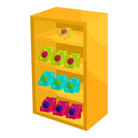 mart: Supermarket shelf with cookies icon. Cartoon illustration of shelf with cookies vector icon for web Illustration
