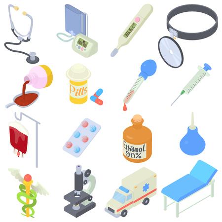 Medical icons set. Isometric illustration of 16 medical vector icons for web Illustration