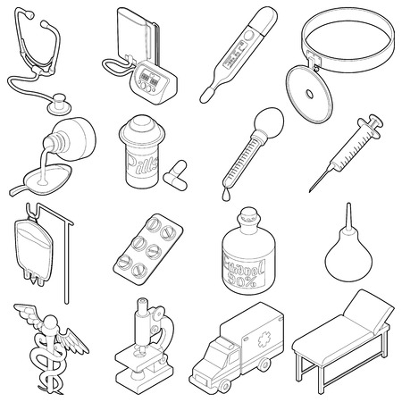 polyclinic: Medical icons set. Isometric outline illustration of 16 medical vector icons for web