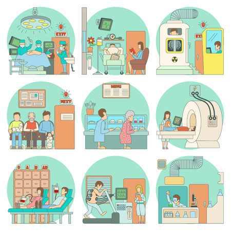 surgeon operating: Medicine concepts set. Cartoon illustration of 9 medicine vector concept for web