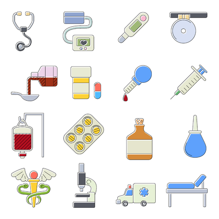 polyclinic: Medical icons set. Cartoon outline illustration of 16 medical vector icons for web Illustration