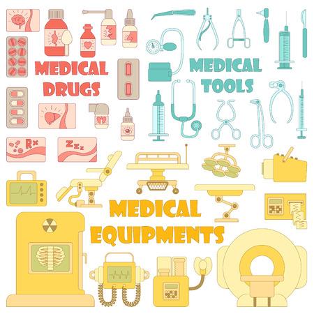 medical equipment: Medical tools equipment grugs icons set. Cartoon illustration of 37 medical tools equipment grugs vector icons for web