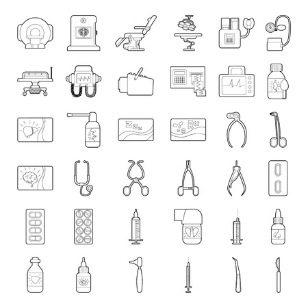 medical equipment: Medical tools equipment grugs icons set. Outline illustration of 36 medical tools equipment grugs vector icons for web