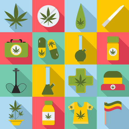 rastaman: Marijuana icons set. Flat illustration of 16 marijuana vector icons for web