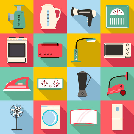 Household appliances icons set. Flat illustration of 16 household appliances vector icons for web