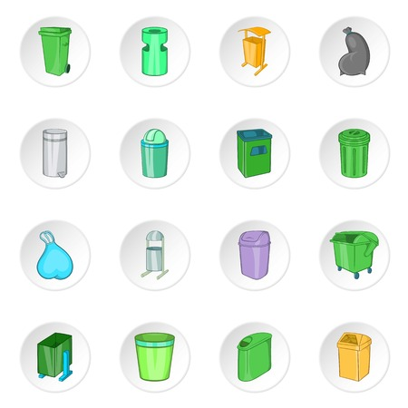 trashing: Trash can icons set. Cartoon illustration of 16 trash can vector icons for web