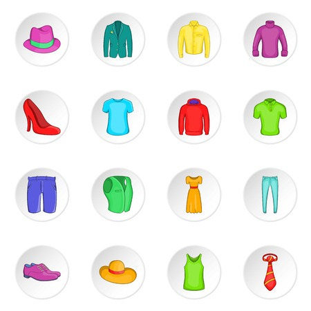 leather skirt: Clothes icons set. Cartoon illustration of 16 clothes vector icons for web Illustration