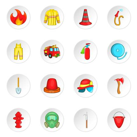 firefighting: Firefighting icons set. Cartoon illustration of 16 firefighting vector icons for web