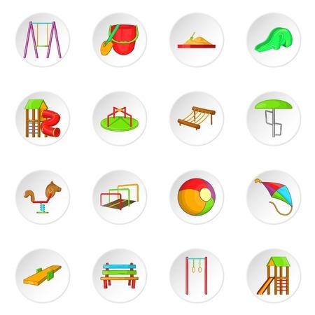 rope ladder: Children playground icons set. Cartoon illustration of 16 children playground vector icons for web