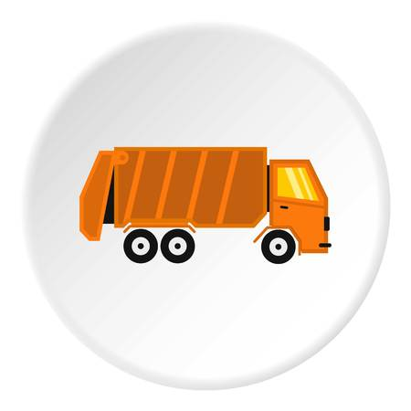 Garbage truck icon. Flat illustration of truck vector icon for web design