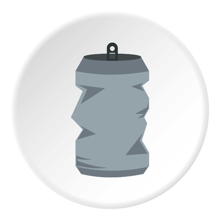canned drink: Crumpled aluminum can icon. Flat illustration of can vector icon for web design