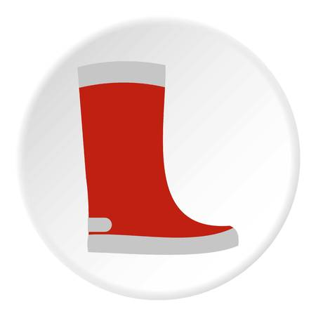 welly: Red rubber boot icon. Flat illustration of shoe vector icon for web design