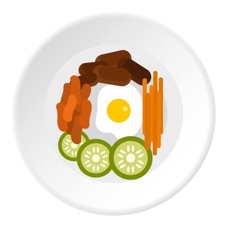 Bibimbap korean dish icon. Flat illustration of korean dish vector icon for web design Illustration