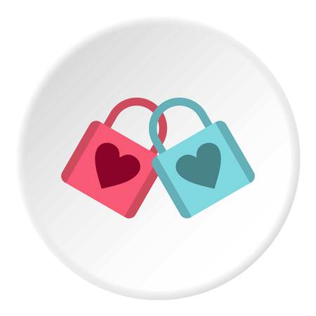 padlocks: Blue and pink padlocks with heart icon. Flat illustration of padlock vector icon for web design
