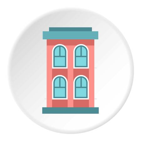 storey: Two storey house with large windows icon. Flat illustration of two storey house with large windows vector icon for web