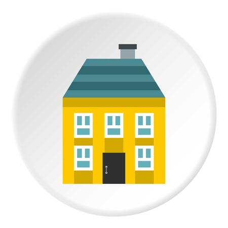 storey: Two storey house with chimney icon. Flat illustration of two storey house with chimney vector icon for web