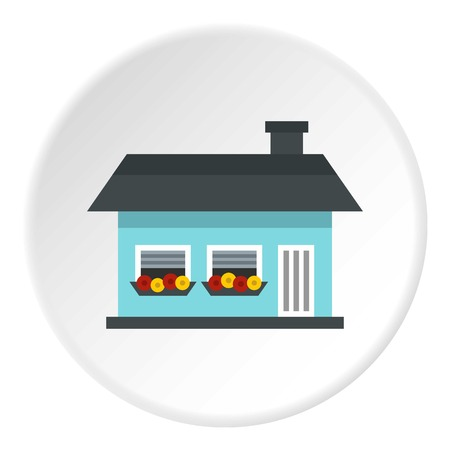 storey: One storey house with two windows icon. Flat illustration of one storey house with two windows vector icon for web