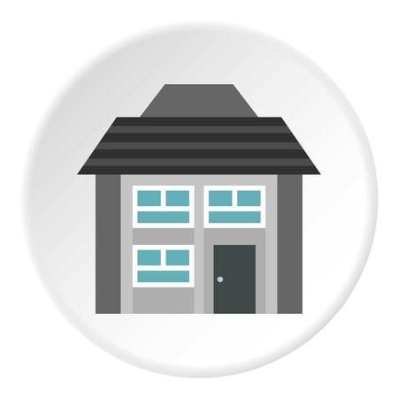 two storey: Two storey house with sloping roof icon. Flat illustration of two storey house with sloping roof vector icon for web Illustration