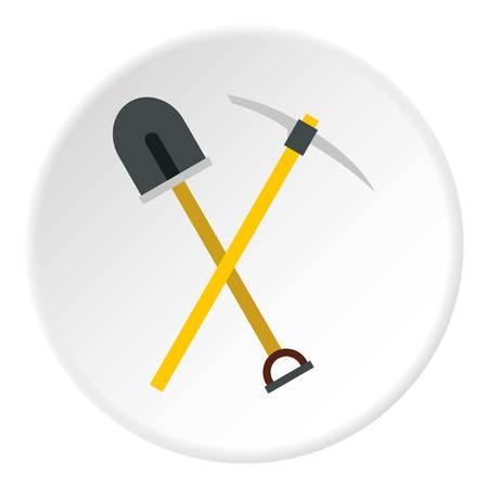 pickaxe: Shovel and pickaxe icon. Flat illustration of shovel and pickaxe vector icon for web Illustration