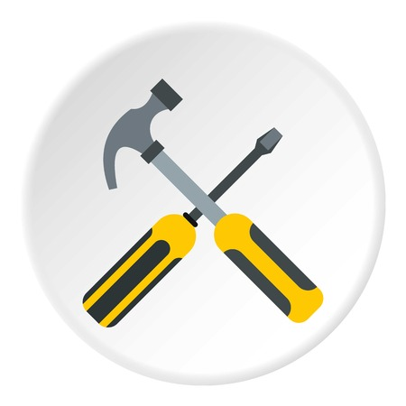 Hammer and screwdriver icon. Flat illustration of hammer and screwdriver vector icon for web