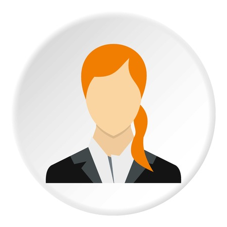 ponytail: Woman with ponytail avatar icon. Flat illustration of woman with ponytail avatar vector icon for web