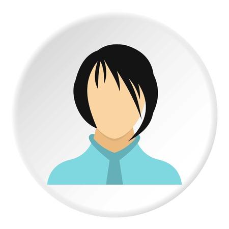 bangs: Woman with bangs avatar icon. Flat illustration of woman with bangs avatar vector icon for web