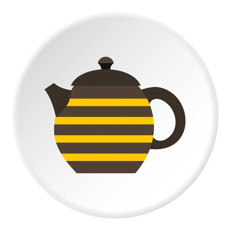 Striped kettle icon. Flat illustration of striped kettle vector icon for web