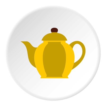 Yellow kettle icon. Flat illustration of yellow kettle vector icon for web