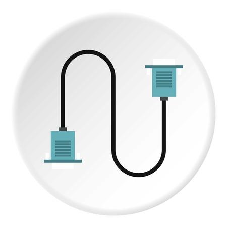 vga: Cord VGA icon. Flat illustration of cord VGA vector icon for web Illustration