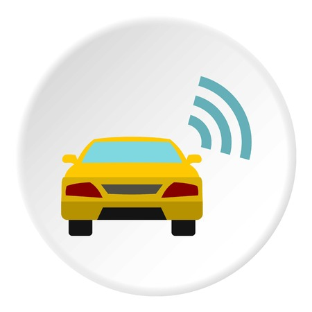 ordering: Ordering taxi via GPS icon. Flat illustration of ordering taxi via GPS vector icon for web