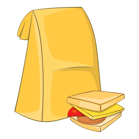 Lunch bag and sandwich icon. Cartoon illustration of lunch bag and sandwich vector icon for web Illustration