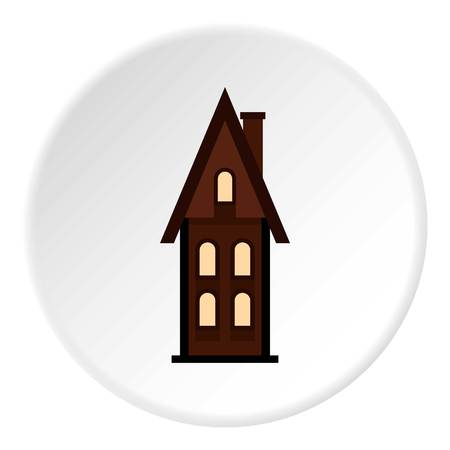 Two storey house with attic icon. Flat illustration of two storey house with attic vector icon for web