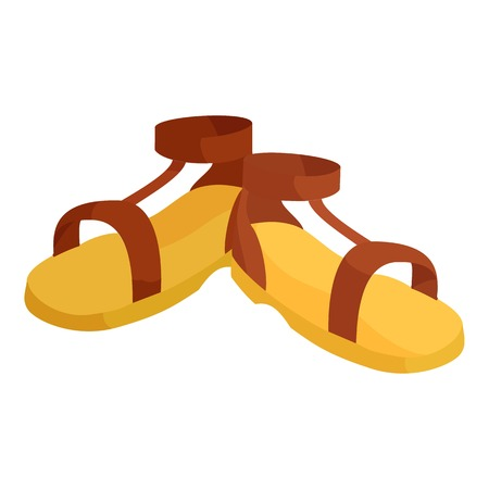 ankle strap: Pair of brown sandals icon. Cartoon illustration of pair of sandals vector icon for web