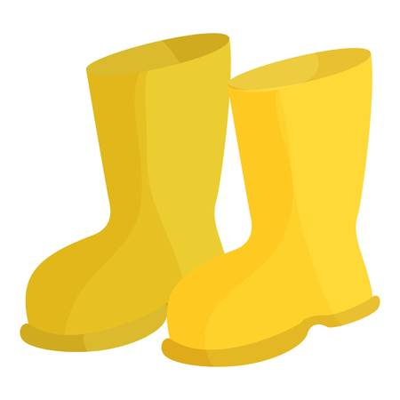 rubber boots: Yellow rubber boots icon. Cartoon illustration of rubber boots vector icon for web Illustration