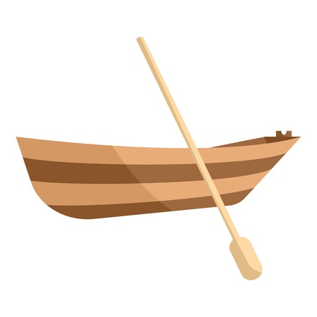 barque: Wooden boat with paddle icon. Cartoon illustration of wooden boat vector icon for web