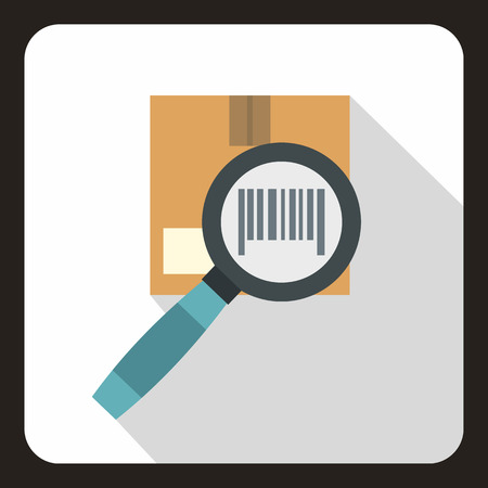 Cardboard box and magnifying glass icon. Flat illustration of box magnifying glass vector icon for web