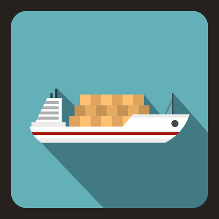 water carrier: Cargo ship icon. Flat illustration of ship vector icon for web isolated on a baby blue background