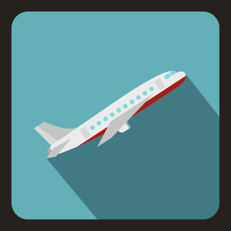 boeing: Plane icon. Flat illustration of plane vector icon for web isolated on a baby blue background