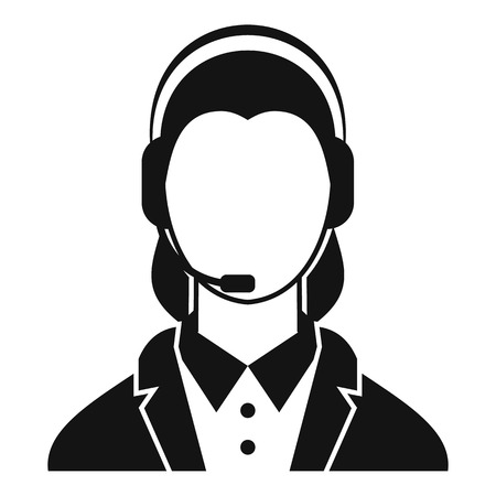 call centre girl: Support phone operator in headset icon. Simple illustration of phone operator in headset vector icon for web Illustration
