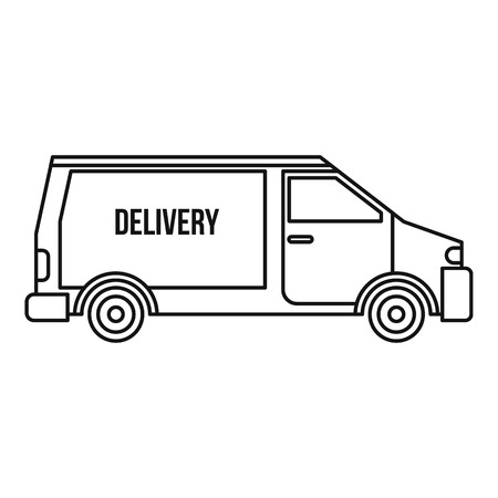 Delivery van icon. Outline illustration of delivery van vector icon for web