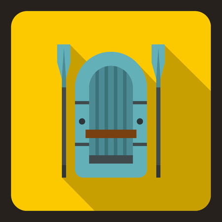 inflatable: Inflatable boat with paddles icon. Flat illustration of inflatable boat with paddles vector icon for web