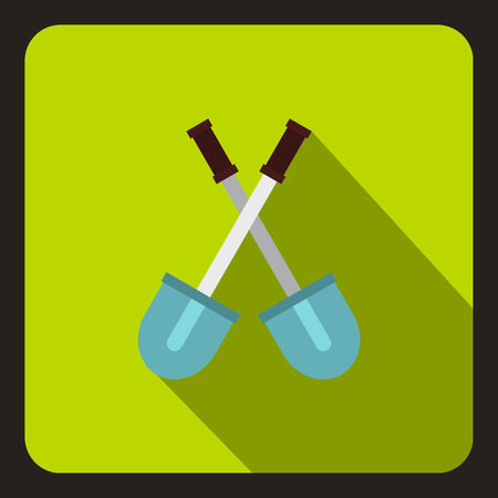 sapper: Two crossed shovels icon. Flat illustration of two crossed shovels vector icon for web Illustration
