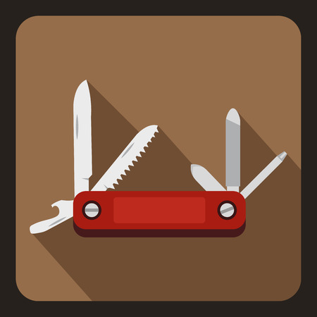 Red multifunction knife icon. Flat illustration of vector icon for web Illustration