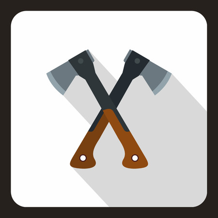axes: Two crossed axes icon. Flat illustration of crossed axes vector icon for web Illustration