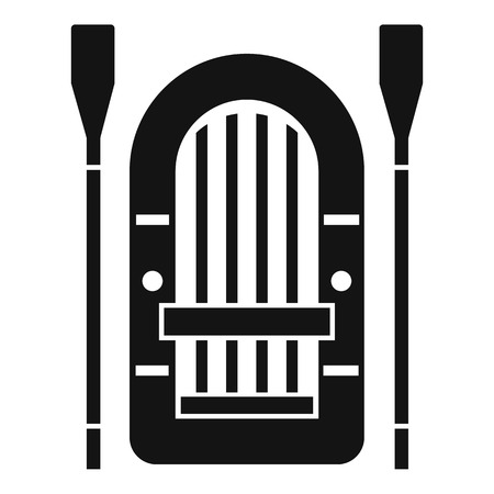paddles: Boat with paddles icon. Simple illustration of boat vector icon for web