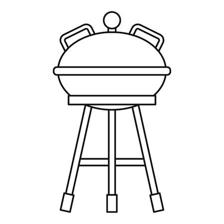 barbecue stove: Camping kettle barbecue icon. Outline illustration of kettle barbecue vector icon for web Illustration